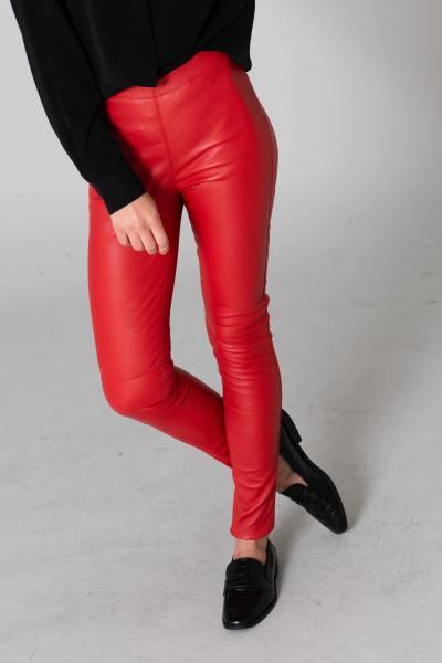 Rote Leder-Slim-Fit-Hose