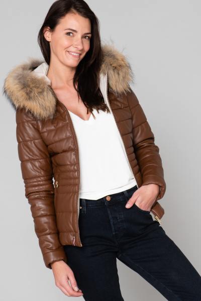 Jacke aus echtem Leder und Pelz