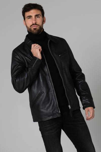 Veste en cuir véritable noire              title=