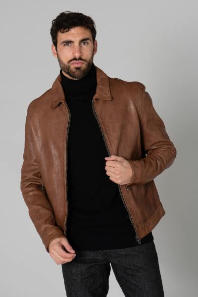Blouson en cuir marron véritable              title=