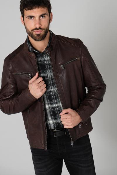 Blouson en cuir marron biker              title=