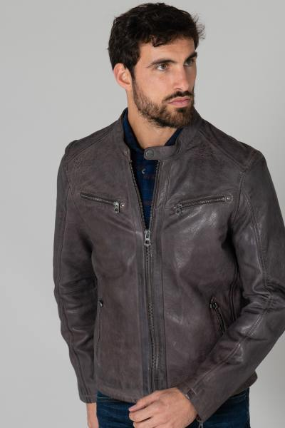 Blouson cuir gris esprit moto              title=