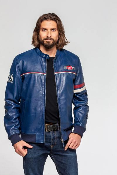 Blaue Jacke mit Bikerkragen und gerippten Manschetten              title=