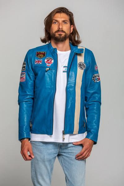 Blouson vintage racing en cuir bleu