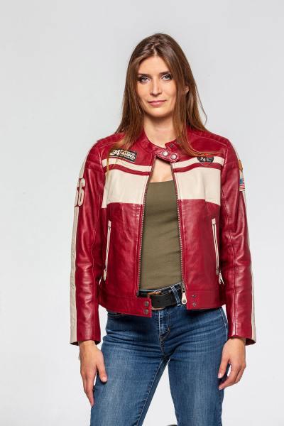 Blouson à patchs esprit biker en cuir rouge              title=