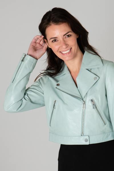 Perfecto femme en cuir vert pastel              title=