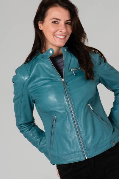 Blouson en cuir bleu turquoise              title=