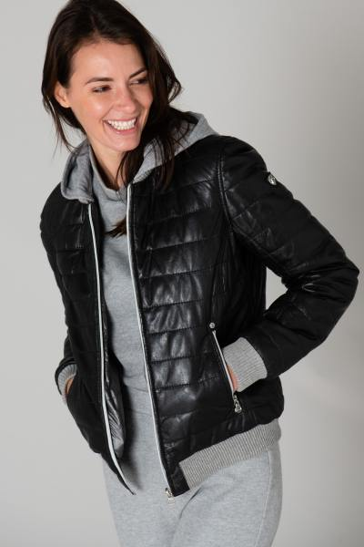 Doudoune sportswear en cuir noir              title=