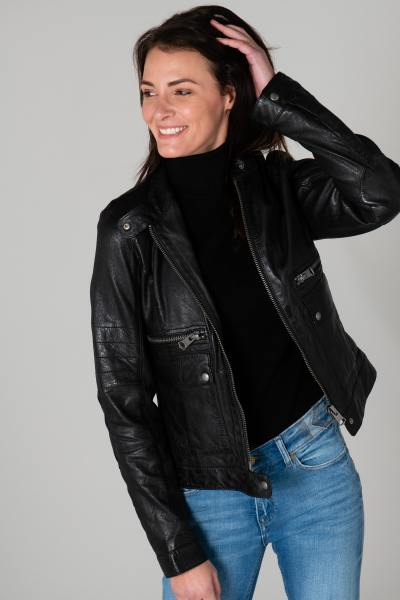 Blouson en cuir style motard