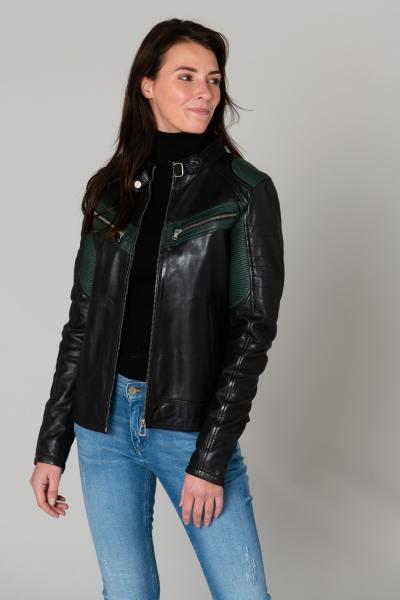 Blouson femme esprit motard vert et noir              title=