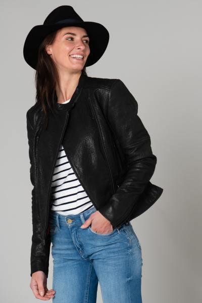 Blouson en cuir biker femme              title=