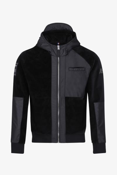 Sweatshirt aus zwei Materialien mit Reißverschluss              title=