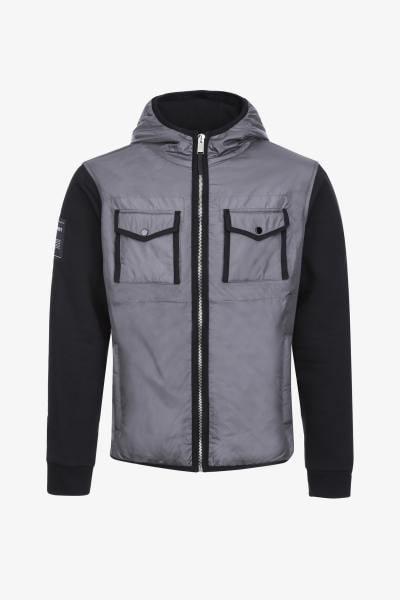 Grau-schwarze Jacke mit Reißverschluss für Sportbekleidung              title=