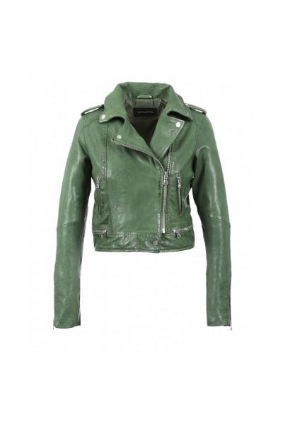 Perfecto court en cuir couleur vert              title=