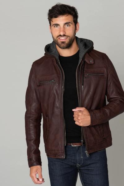 Blouson en cuir à capuche amovible marron              title=