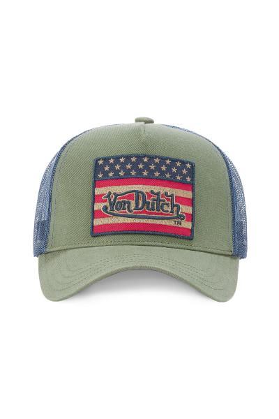 Casquette vert kaki drapeau américain              title=