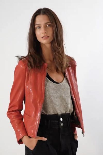 Spencer femme en cuir rouge              title=