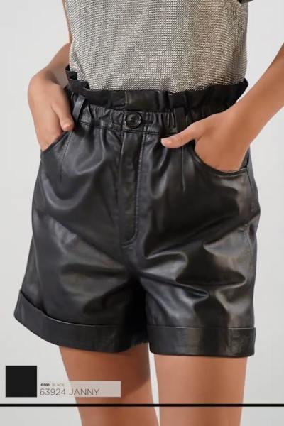 Short paperbag taille haute en cuir noir