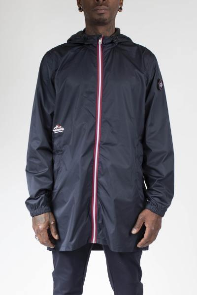 Longue veste zippée type coupe-vent