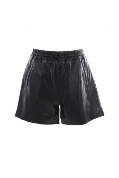 Schwarze Schafsfell-Shorts