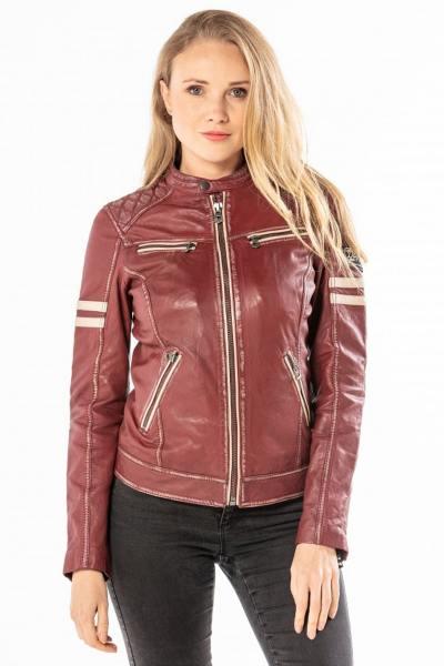 Blouson en cuir rouge style biker