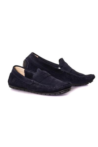 Marineblauer Wildleder-Loafer