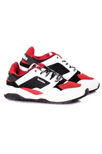 Sneakers homme blanc noir rouge