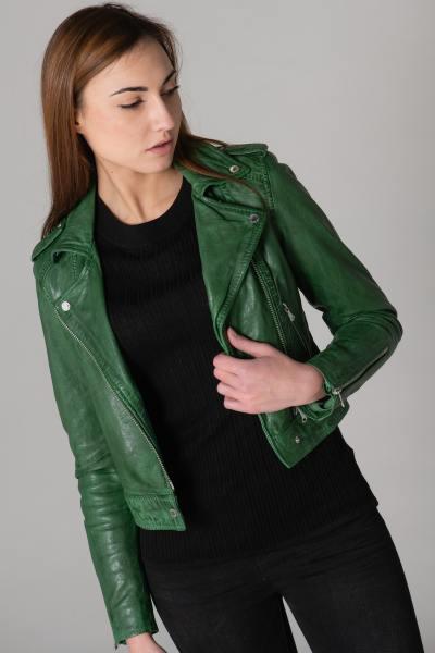 Perfecto court en cuir couleur vert
