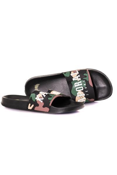 Khakigrüne Pantoletten-Sandalen