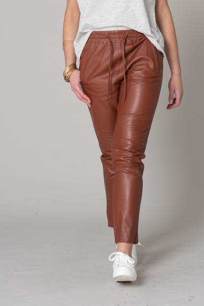 Pantalon jogpant en cuir marron