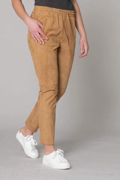 Pantalon en cuir velours marron clair