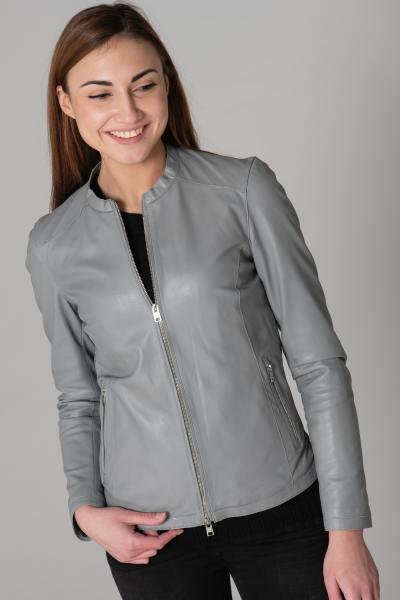 Blouson en cuir véritable gris clair