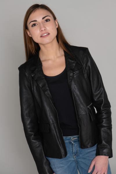 Schwarze Schafsleder-Blazerjacke für Frauen