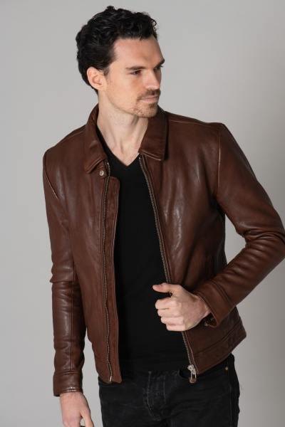Blouson en cuir marron ecofriendly