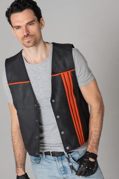 Schwarze und orangefarbene Biker-Weste aus Leder