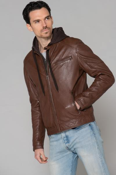 Blouson en cuir marron avec capuche