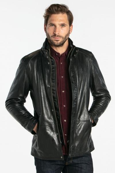 Mittellange schwarze Lederjacke