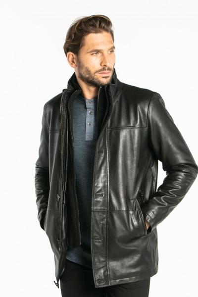 Manteau en cuir noir homme