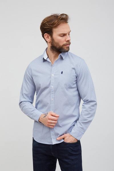 Chemise coton à motifs manches longues