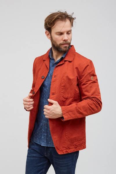 Veste 3 boutons rouge brique en lin et coton