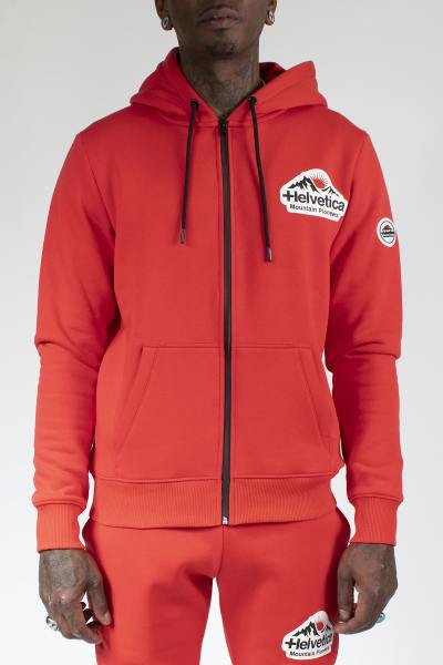 Sweat zippé sportswear rouge