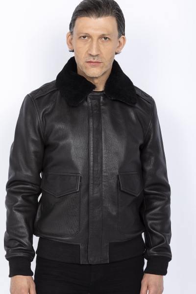 Flight Jacket en cuir noir patiné
