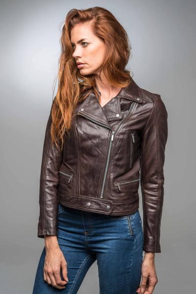 Perfecto en cuir marron minimaliste
