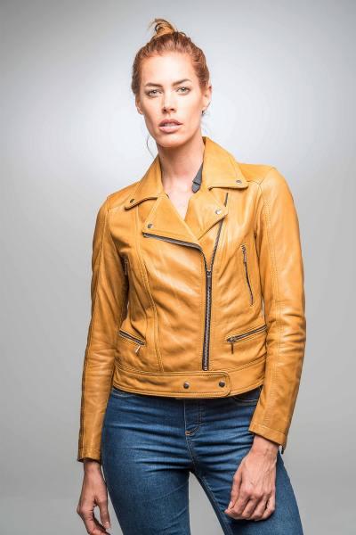 Perfecto femme en cuir jaune