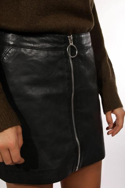 Mini jupe en cuir noir