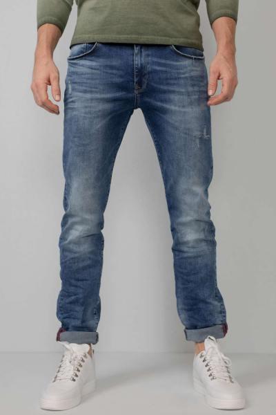 Schlanke Passform & Stretch gewaschene blaue Jeans
