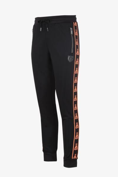 Schwarz-orangefarbene Jogginghose