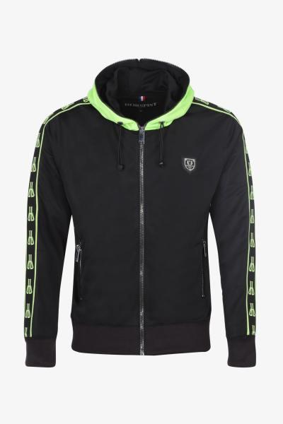 Sweat à capuche zippé noir et vert