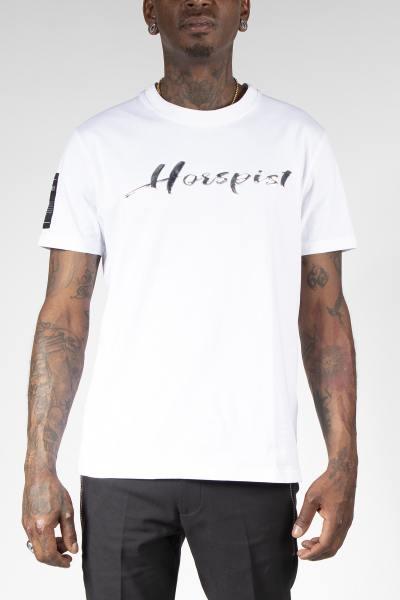 Weißes T-Shirt mit silbernem Logo