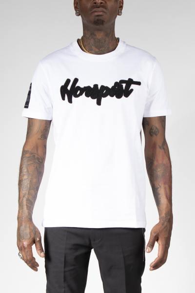 Weißes H-Linien-T-Shirt mit gesticktem Logo